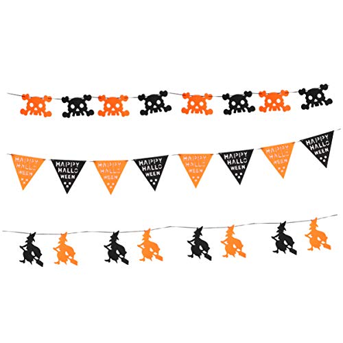 BESPORTBLE 3pcs Halloween Fabric Buntings Garland Halloween Party Skull Decoration Banner Rustic Hanging Decorations