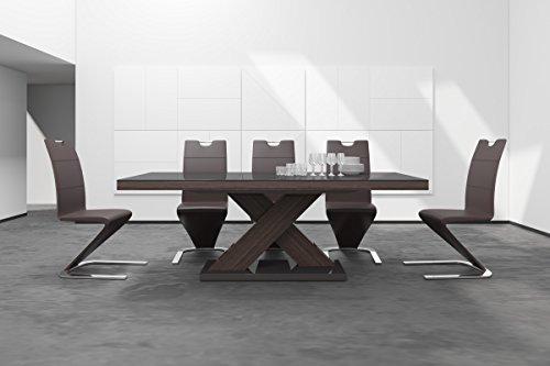 Design Esstisch Tisch HE-888 Braun/Walnuss - Wenge Hochglanz ausziehbar 160 bis 210 cm