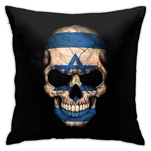 DRXX Funda de Almohada Cuadrada con Calavera y Bandera israelí Oscura para el hogar, sofá Decorativo, 45x45 cm, Funda de Almohada Ultra Suave y cómoda