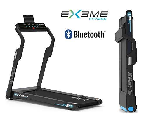 Ex3me Fitness Tapis roulant Professionale S21, Pieghevole salvaspazio, Bluetooth,App Fitshow,Motore 2,5 HP,Extra Slim, Ricevitore Wireless Fascia Cardio