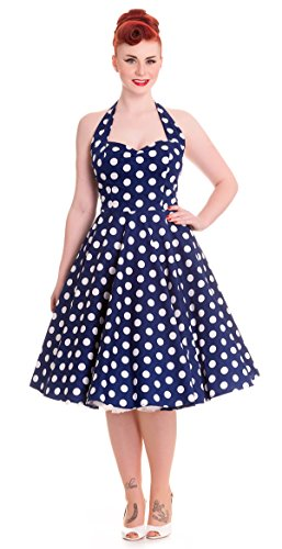 Hell Bunny - Rockabilly Polka Dot Kleid Mariam Dress Blau/Weiß (XS-XL) (M)