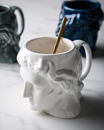 QIJIE Weihnachten, Geburtstagsgeschenk, Home-Office-Getränk und Geschenk, weiße antike griechische Statue Kaffeetasse Keramikbecher Tasse - 580ml
