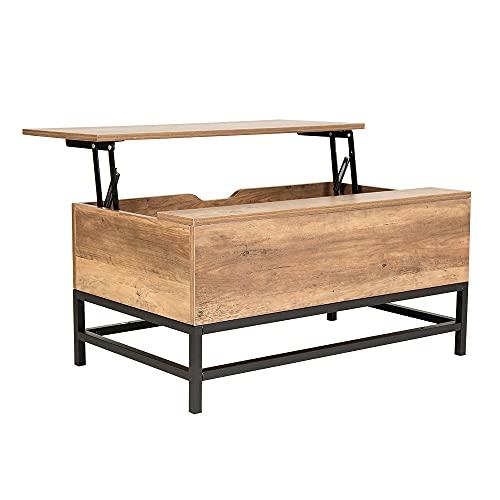 HEUTE Mesa de centro, mesa de salón con espacio de almacenamiento, mesa de centro extensible de altura regulable - Estilo moderno funcional(marrón oscuro)