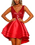 Lrady Women's Sequin Glitter V Neck Skater Mini Club Cocktail Party Swing Dress, Red, Large