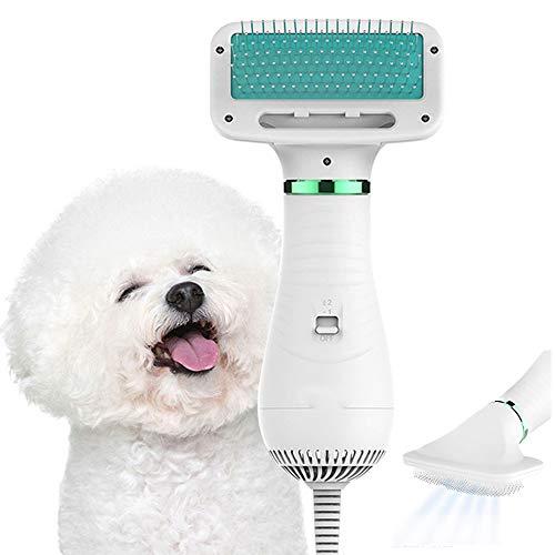 GGHKDD - Peine para mascotas, cepillo para mascotas, peine 2 en 1, secador de perros, 300 W, potente ventilador de pelusa con mango ergonómico con 2 velocidades de temperatura para perros