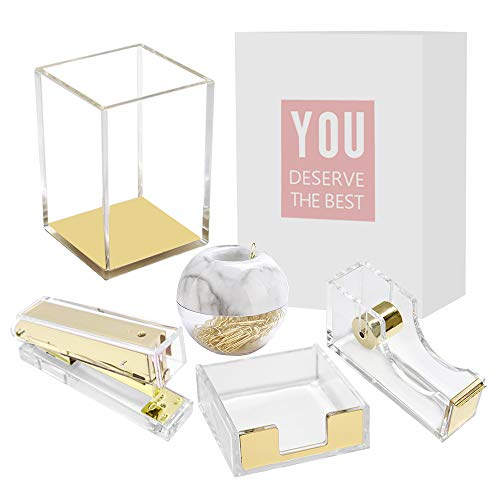 Clear Acrylic Gold Desktop Supplies Office Stationery Set Tape Dispenser, Memo Holder, Magnetic Paper Clips Holder, Stapler, Pen Pencil Makeup Brushes Holder (5 Packs Clear Gold)