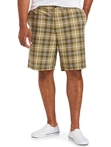 Amazon Essentials Men's Classic-fit Flat-Front Short fit by DXL, Olive Plaid, 60
