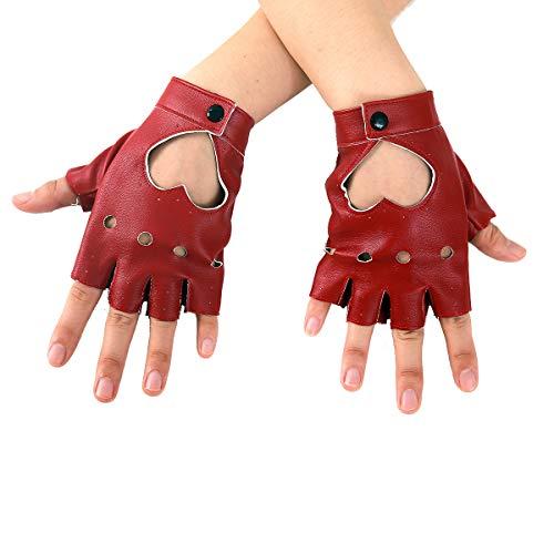 JISEN Women Heart Cutout Punk Half Finger PU Leather Performance Gloves Red