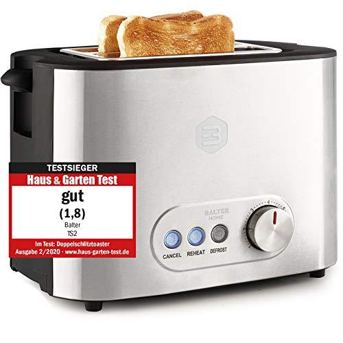 Balter Toaster 2 Scheiben ✓ Brötchenaufsatz ✓ Auftaufunktion ✓ Brotzentrierung ✓ Krümelschublade ✓ Edelstahlgehäuse ✓ Testsieger 2020 Haus&Garten ✓ Farbe: Silber (Zwei Scheiben)