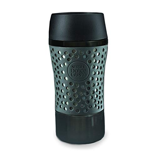 NESCAFÉ Dolce Gusto Thermobecher Pop mit Deckel, Coffee to Go Thermo Becher, Travel Mug, Kunststoff, Metallic-Grau/Schwarz, 310 ml, 12380859