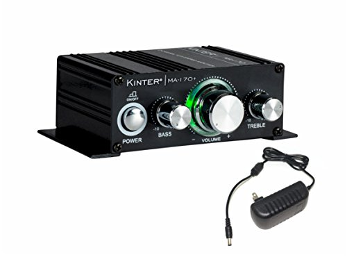 Kinter MA170+ 2-Channel Auto Home Cycle Arcade DIY 2 x 18 W Mini Amplifier Bass Treble RCA Input Audio Mini Amplifier with 12V 3A Power Supply Black