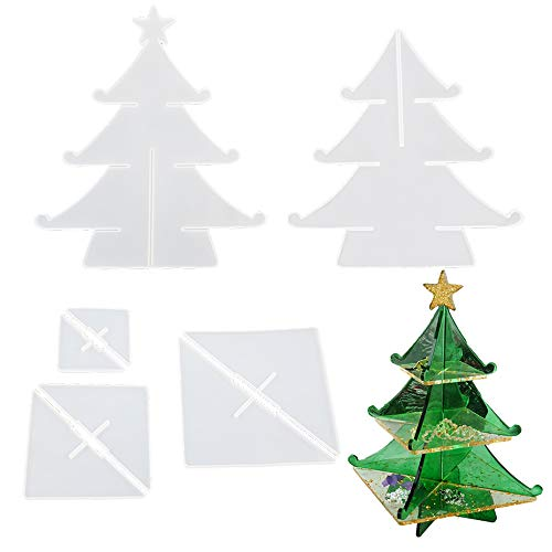 VERWIN 8PCS Epoxy Molds for Making 3D Christmas Tree Storage Box Mould DIY Silicone Resin Tray Molds Resin Casting Molds for Making Candy Dessert Jewelry and Doll Stand Christmas Home Party Decoration