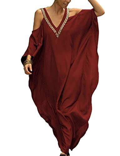 Bsubseach Women Cold Shoulder V Neck Plus Size Bikini Swimsuit Cover Ups Beach Caftan Dresses Red