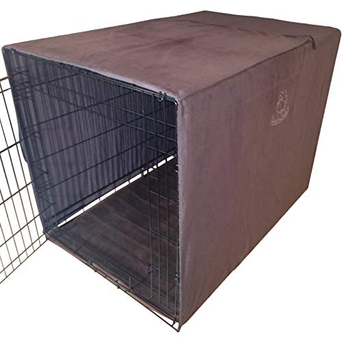 Big 4in1 Dog Crate Cover/Car Seat & Furniture Protector/Microfiber Dog Towel. Most Popular Size 42'x30'x28' Covers Large Dog Breed Crates Kennels Cages Houses. Tough with Unique Ties to Stay On