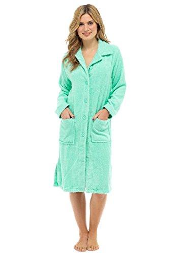TF Damen 100% Baumwolle Frottee Robe mit Knopfleiste (L, Minze)