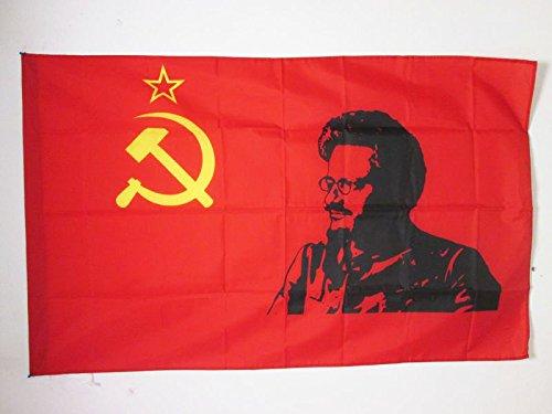 AZ FLAG Flagge SOWJETUNION UDSSR MIT TROTZKI 150x90cm - Kommunismus Fahne 90 x 150 cm Scheide für Mast - flaggen Top Qualität