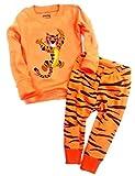 Babylike Dos Conjuntos de Pijama de Tigre para los Niños y Niñas de Algodón 100% (2-10 Años)(Marrón-8-9 años)