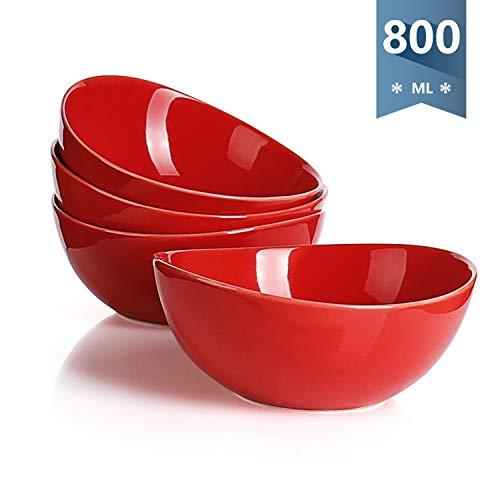 Sweese 103.104 Suppenschalen 4er Set aus Porzellan, Füllmenge 800 ml, Müslischale, Suppenschale, Salatschüssel, Rot