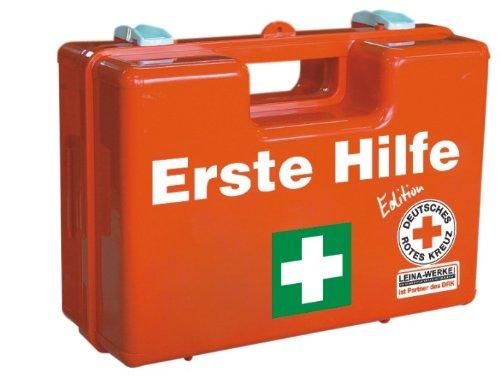 *LEINA-WERKE 82103 SAN DRK-Edition Erste Hilfe-Koffer mit Inhalt: DIN 13169, Orange, Grün/Weiß/Schwarz Druck*