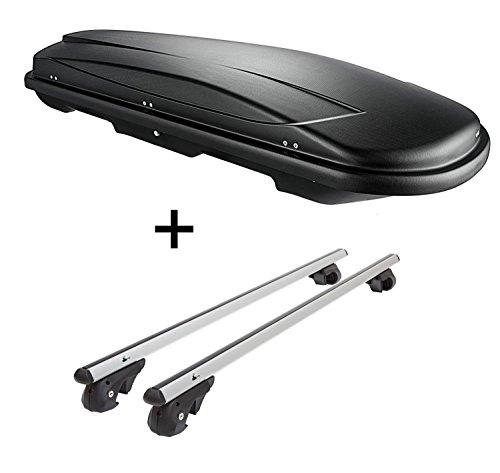 Skibox VDPJUXT600 600Ltr Boîte de Ski verrouillable + Barres de Toit en Aluminium VDP004XL pour Ssang Yong Rexton à partir de 13