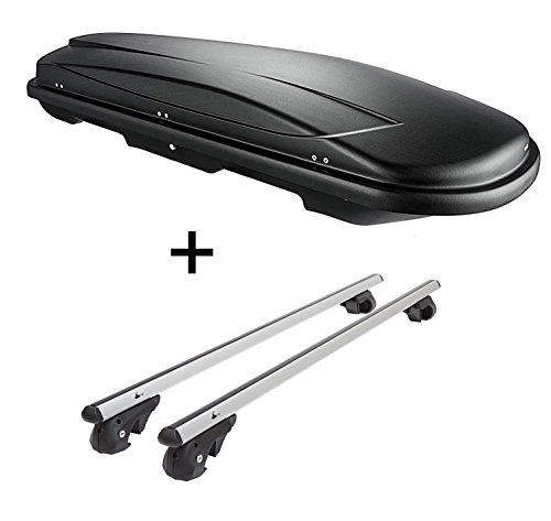 Skibox VDPJUXT600 600Ltr abschließbar + Alu Relingträger VDP004XL kompatibel mit VW Touareg 7P5 ab 10