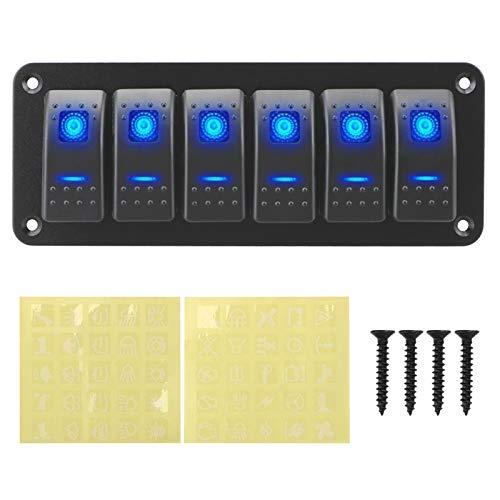LICHONGUI Panel de interruptores de rockero on-Off, Impermeable, Interruptor de luz de luz, Panel de Interruptor de Palanca de LED 12 / 24V 6 pandillas para caravanas Marinas RV (Color : Blue)