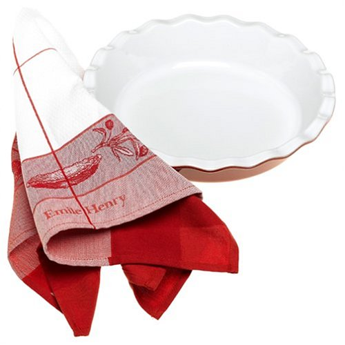 Emile Henry Couleurs 9-Inch Pie Plate with Tea Towel, Red