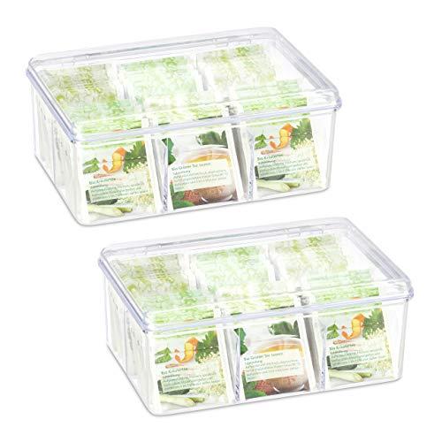 Relaxdays 2 x Teebox, je 6 Fächer, 90 Teebeutel, Teedose mit Klappdeckel, Aromaschutz, HxBxT: 9 x 21,5 x 14,5 cm, transparent