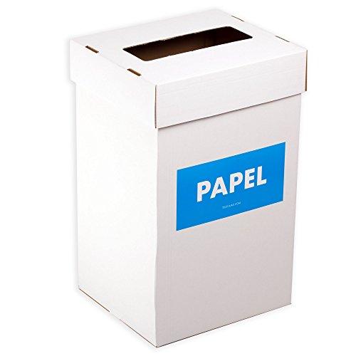 TeleCajas® | Pack 5 PAPELERAS de cartón con Tapa automontable | Medidas: 41x32,5x69 cms