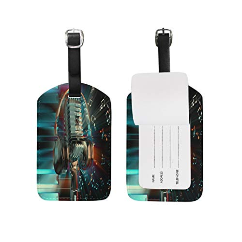 Luggage Tag Abstract Piano Microphone Headset with Music Note Travel Tag Name Card Holder for Baggage Suitcase Bag 1 Piece