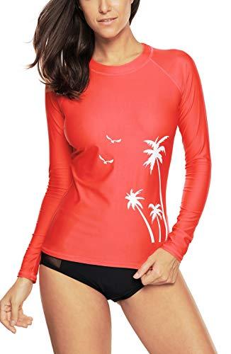 CharmLeaks Women Surf Rash Guards Long Sleeve UV Sun Protection Swim Shirts Coral L