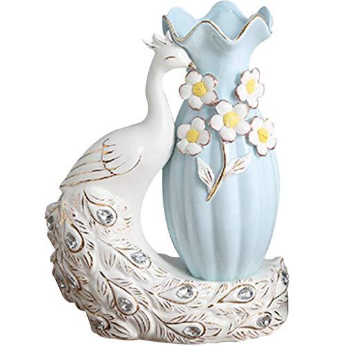 YHRJ Jarrón de cerámica de Pavo Real,Florero seco Sala de Estar arreglo Floral decoración Creativa,Decoraciones para gabinetes de TV para el hogar (Color : Blanco, Size : 27 * 18cm)
