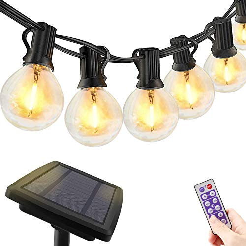 Solar LED Lichterkette Außen Glühbirnen - 10M Lichterkette dimmbar mit Fernbedienung, Timer Funktion, LED Lichterketten mit 30+3 G40 Birnen für Party Garten Balkon Innen und Weihnachten, Warmweiß