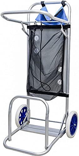 Bravo Home - Carrito portasillas plegable, 110 x 38 x 42 cm, aluminio para camping y playa, acero inoxidable y textilene azul con ruedas, red y bolsillo para un máximo de 5 sillas.