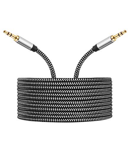 Morelecs AUX Cord 3.5mm Auxiliary Audio Cable AUX Cable 20ft Nylon Braided Male to Male 3.5mm Audio Cable Compatible for Headphones, iPods, iPhones, iPads, Home/Car Stereos and More