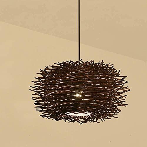 Lámpara de bambú y ratán tejidas a mano en forma de nido de pájaro estilo chino creativo rama de mimbre lámpara colgante E27 Lámpara de iluminación decorativa de cabeza única YZPTD (tamaño : Small)