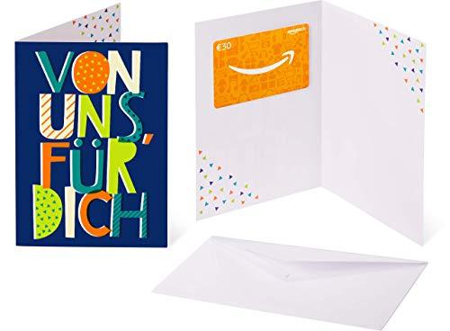 Amazon.de Geschenkkarte in Grußkarte - 30 EUR (Von uns allen - blau)