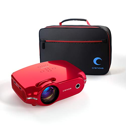 Crenova Video Projector, Multimedia Home Mini Movie Projector with Portable Bag, 3200 Lux, 50,000 Hrs LED Lamp, Work with PC, Fire Stick, HDMI, PS4, TV Box, VGA, SD, AV, USB