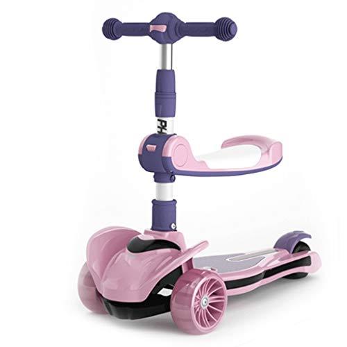 Dzwyc Scooter Scooters de Mango Antideslizante para niños, Ilumina la Scooter para niños, Altura Ajustable, Magro para dirigir Scooters para niños de 3 a 12 años Patinetes (Color : Pink)