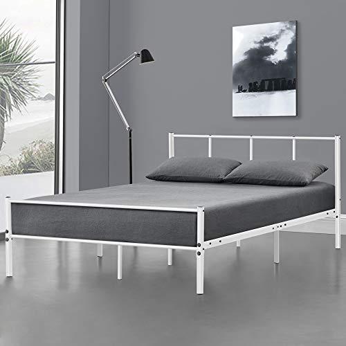 Cama de Metal Base con Somier 120 x 200 Cama Simple Cama Individual Blanco Mate