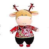 L.BAN Animal de Peluche de Buey de Peluche Suave, muñeca de año Nuevo Chino 2021 muñeca de Vaca de la Suerte del Zodiaco Chino Tradicional, Mejor Regalo de Bitrthday y Juguete de año Nuevo Chino,