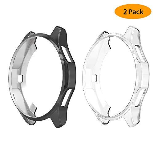 Hianjoo [2 Pack Custodia Compatibile per Samsung Galaxy Watch 46mm, Antiurto TPU Protezione Cover Protettiva Compatibile per Galaxy Watch 46mm - Trasparente, Nero