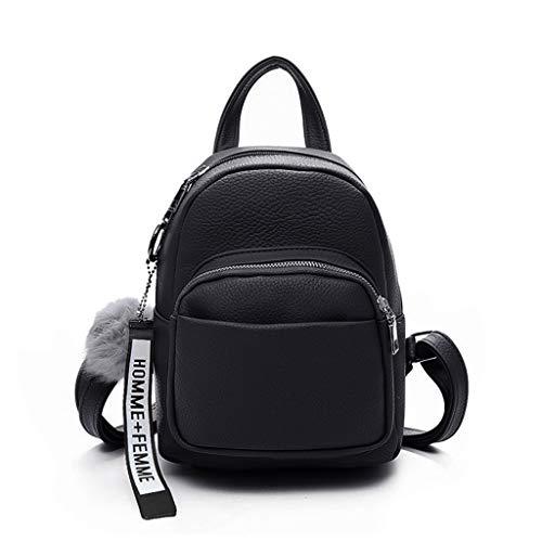 RK HYTQWR Women Pu Leather Backpacks Mini Cute Travel Rucksack Ball Pendant Shoulder Handbags School BagSoft Leather Girls BackpackBlack