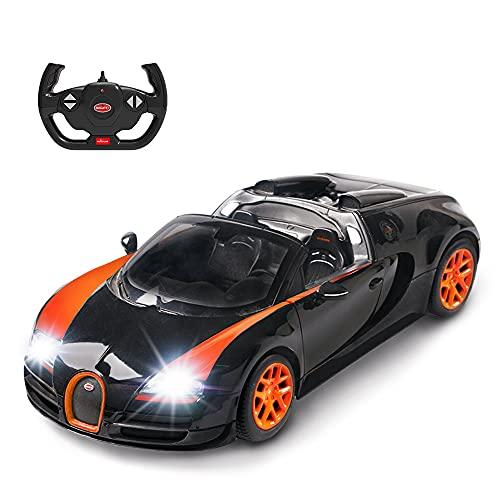 RASTAR Bugatti Toy Car, 1/14 Bugatti Remote Control Car, Bugatti Veyron 16.4 Grand Sport Vitesse RC Car - Black/Orange