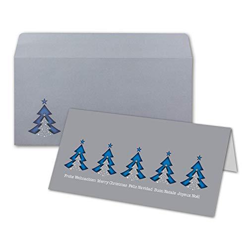 Kerstkaarten DIN lang - blauwe dennenbomen meertalig met brievenenveloppen - kleur: lichtgrijs - internationale kerstgroeten. 1000 Stück Karten DIN Lang blaue Bäume