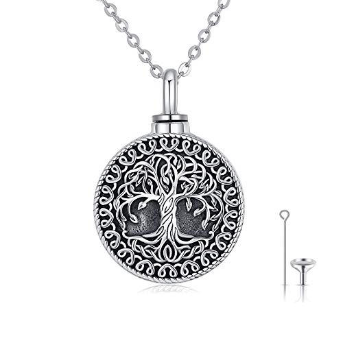 Waysles Tree of Life Urn Necklace for Women S925 Sterling Silver Vintage Oxidized Celtic Cremation Jewelry Keepsake Memorial Pendant Necklace for Human Pets