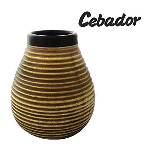 Cebador Mate Becher aus Keramik Honig-Bienenstock | mit Streifen | leicht zu reinigen