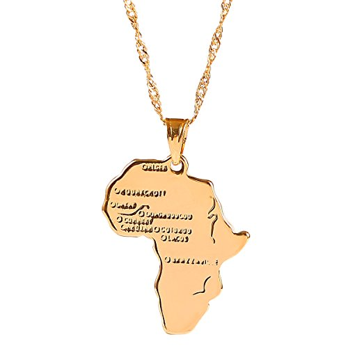 18k Gold Plated Filled Women Girl Africa Map Pendant Necklace