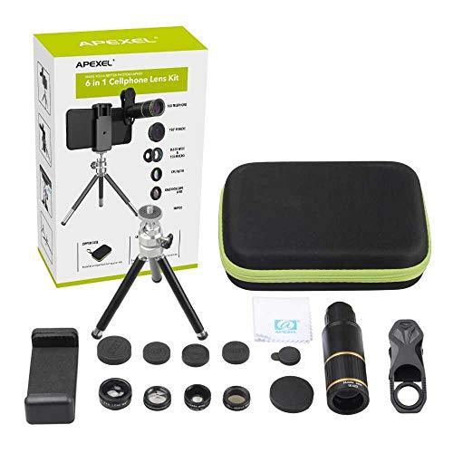 Lente para Celular 16x Zoom +5 Efeitos Kit de Camera Apexel Luneta Tripe e Controle para Foto Video