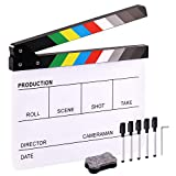 Hilitchi Film Movie Cut Action Board Acrylic Plastic Slate 25x30cm/10x12 Dry Erase Director's Film Clapboard with Color Sticks and with 5 Whiteboard Markers, 1 Eraser and 1 Wrench